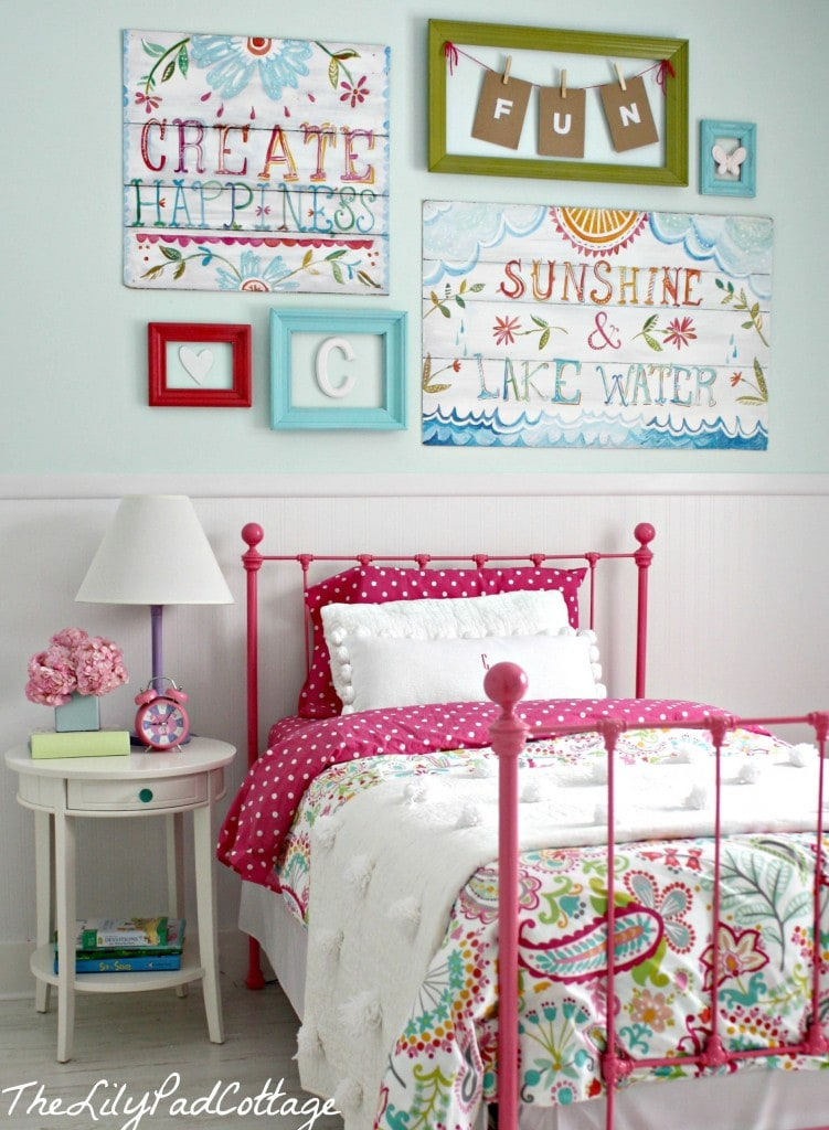 Big girl bedroom reveal finally the lilypad cottage Cute bedroom wall ideas