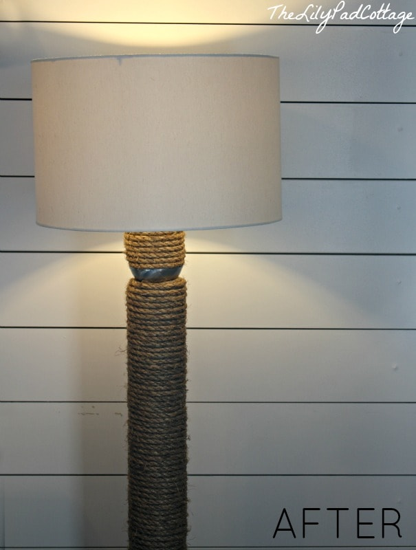 DIY Rope Lamp AFTER - www.thelilypadcottage.com