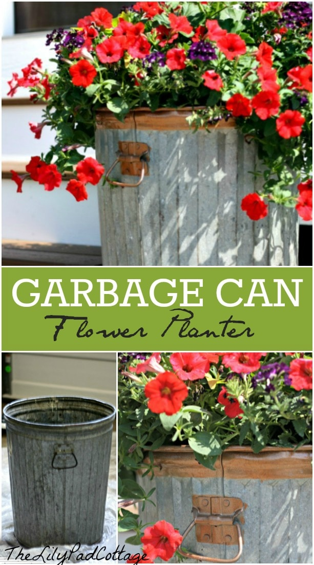 Trash To Treasure Garbage Can Flower Planter Diy The Lilypad Cottage