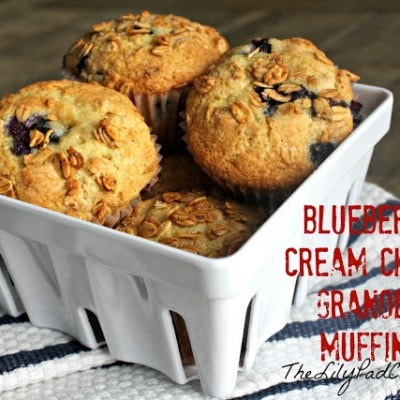 Blueberry Cream Cheese Granola Muffins