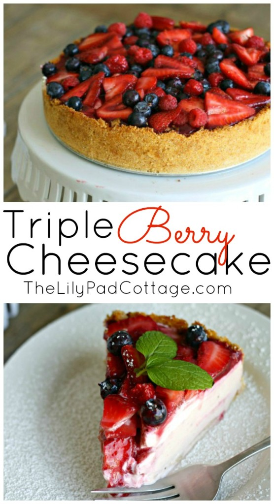 Delicious Triple Berry Cheesecake Recipe and Giveaway from www.thelilypadcottage.com