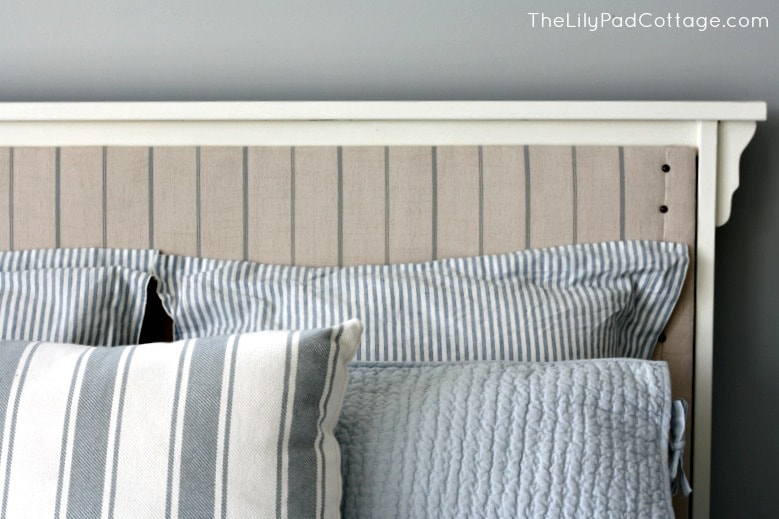 How to turn your existing bed into an upholstered one. DIY - www.thelilypadcottage.com