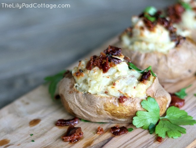 Baked potatoes stuffed with gruyere cheese, bacon, and caramelized shallots. - thelilypadcottage.com