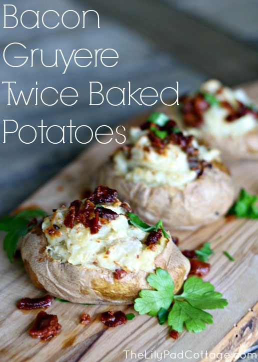 Delicious cheesy bacon stuffed twice baked potatoes. - www.thelilypadcottage.com
