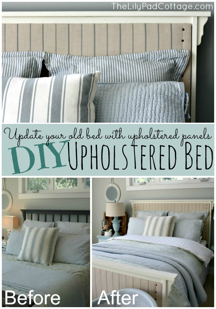 DIY Upholstered Bed - update your old bed with upholstered panels - www.thelilypadcottage.com