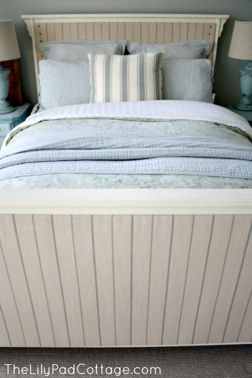 Add upholstered panels to your bed for an updated look -www.thelilypadcottage.com