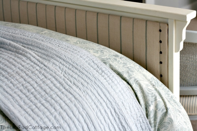 Upholstered Footboard DIY how to -www.thelilypadcottage.com