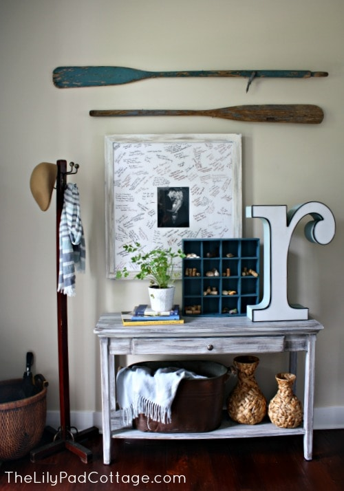 Vintage Entry Decor - www.thelilypadcottage.com