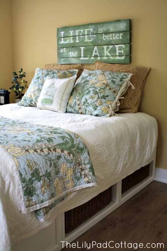Guest room decor my mom 39 s house the lilypad cottage Lake house decorating ideas bedroom