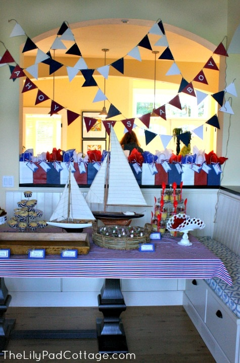 Ahoy it 39 s a boy baby shower the lilypad cottage for Baby shower nautical decoration