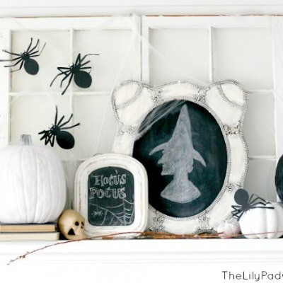 Halloween Mantel – Spiders, Witches and Skulls Oh My!