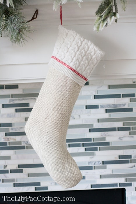White Burlap Christmas Stocking