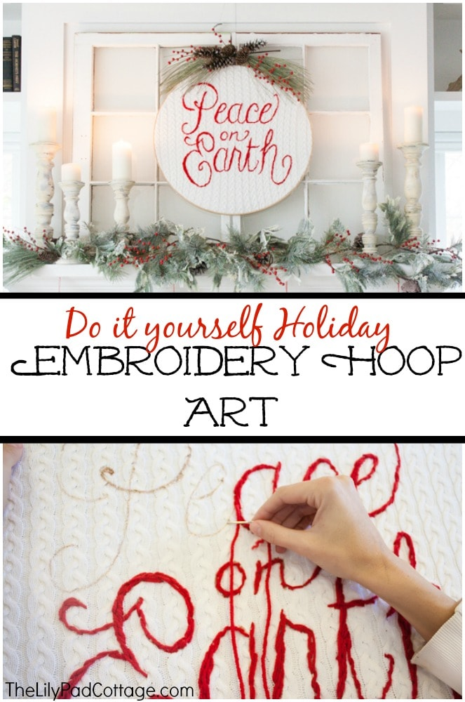 Make your own holiday embroidery hoop art