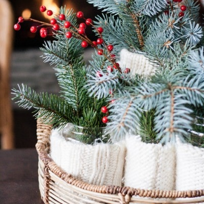 Easy Holiday Centerpiece – Put a Sweater on it