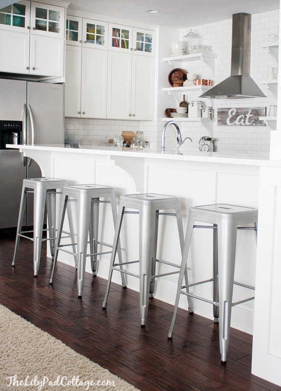 Wonderful White Kitchen Metal Bar Stools