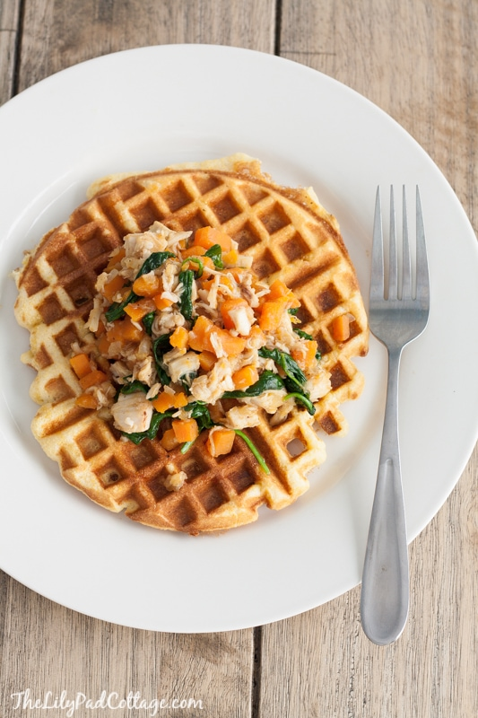 Roast Chicken and Sweet Potato Hash with Cornbread Waffles