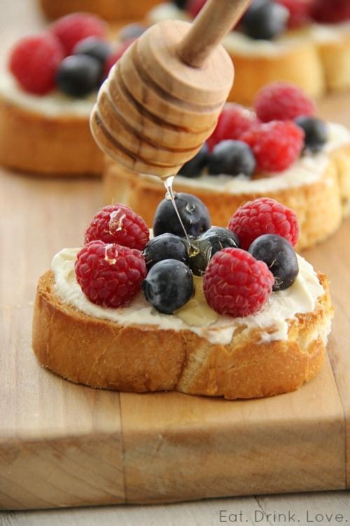 Blueberry Raspberry Crostini