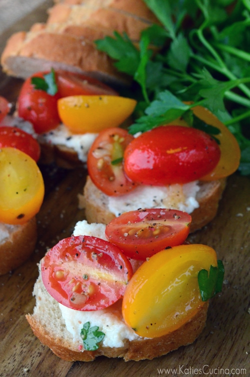 Grape Tomato Ricotta Crostini