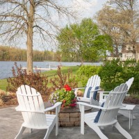 Painted Adirondack chairs and fire pit