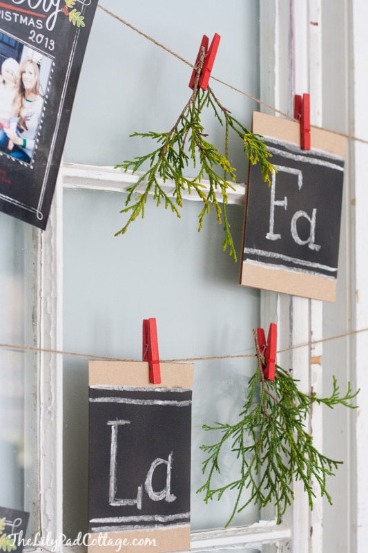 Christmas Card Display with old windows
