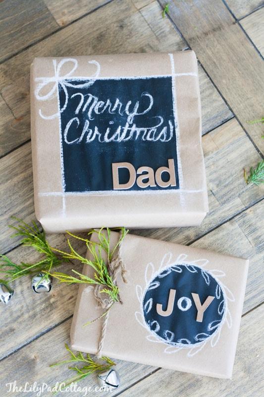 DIY Chalkboard Christmas Gift Wrap