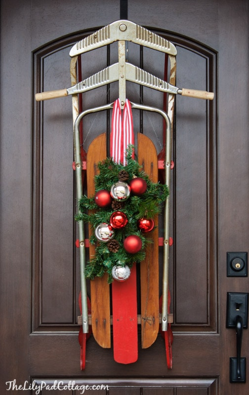 vintage sled decor - Wooden Sled Decoration Christmas