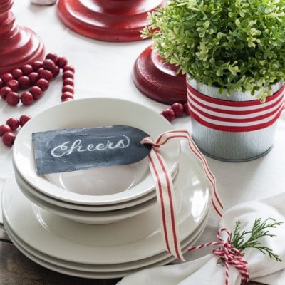 Red and White Christmas Tablescape
