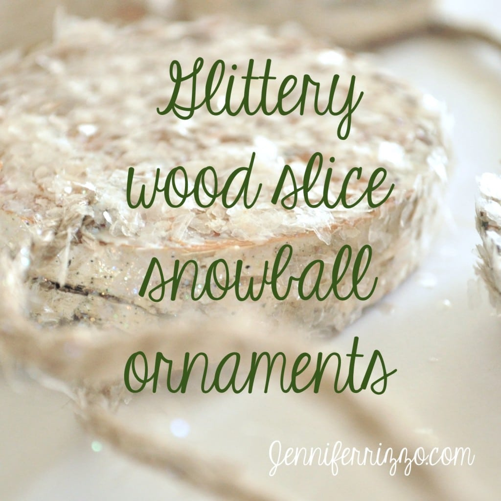 Glittery wood slice ornaments button