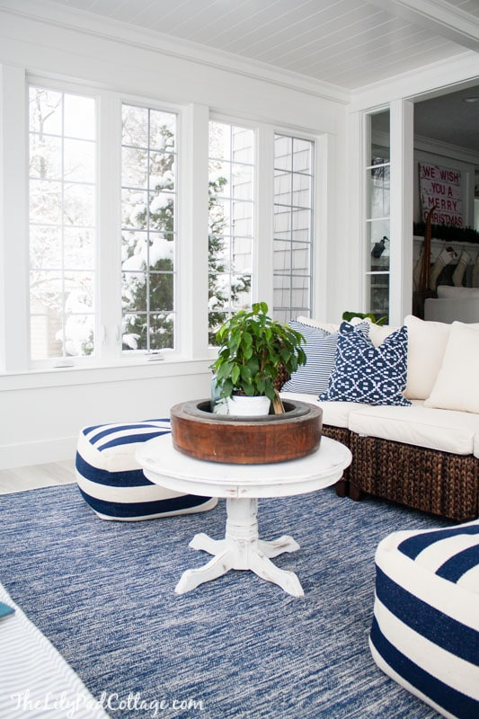 Lake house blue and white sunroom