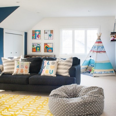 Colorful Playroom Decor and White Paint