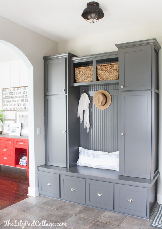 Grey painted mudroom cabinets
