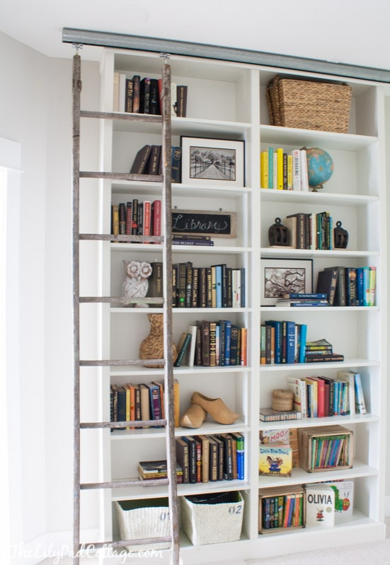 and rail with unique white shelf ikea furniture shelves ladder design bookcase ideas uk home