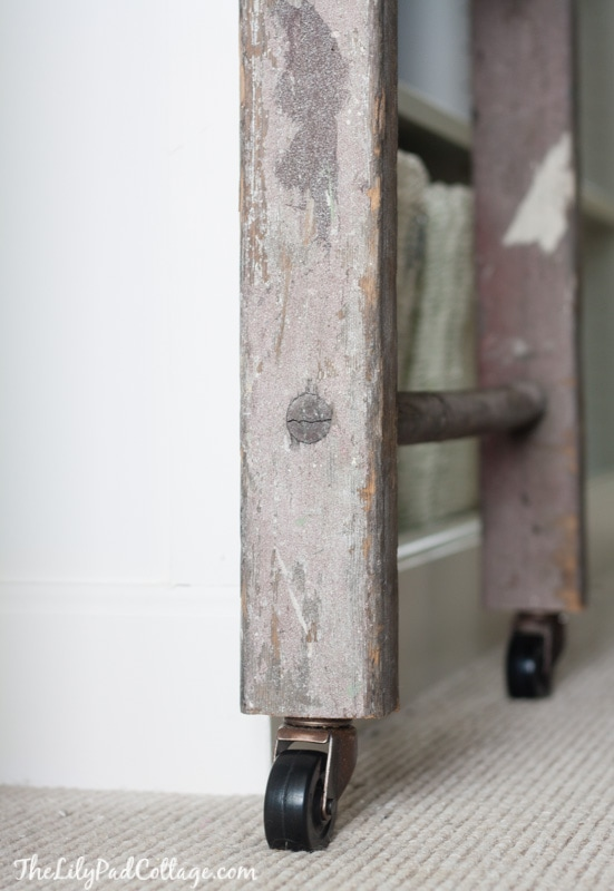 Billy bookcase hack with library ladder the lilypad cottage for Ikea barn door hardware