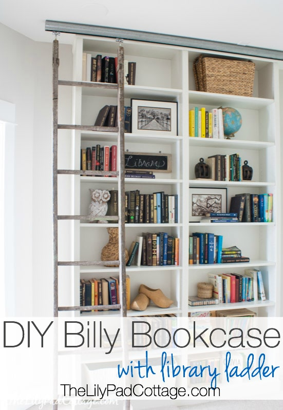 Billy Bookcase Hack With Library Ladder The Lilypad Cottage - Diy billy bookcase