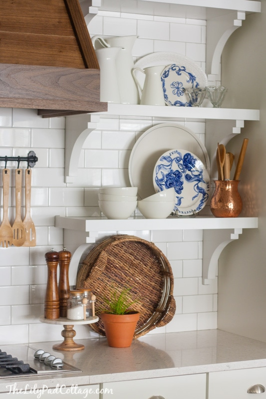 Wood range hood the lilypad cottage white kitchen wooden hood solutioingenieria Images