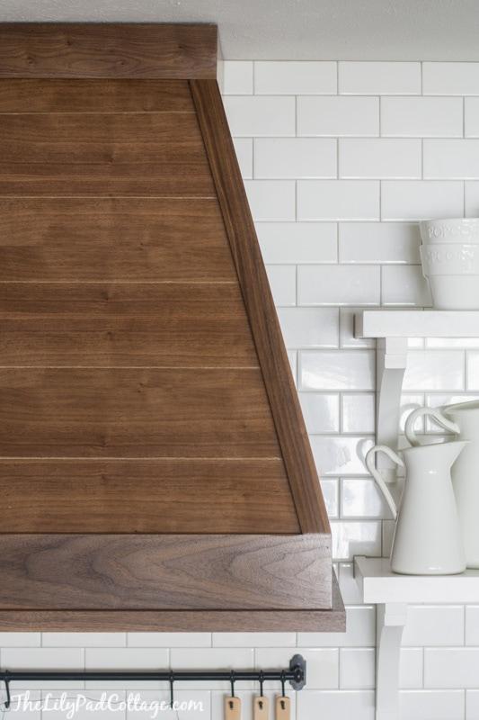 Wood range hood the lilypad cottage white kitchen with wood range hood solutioingenieria Images