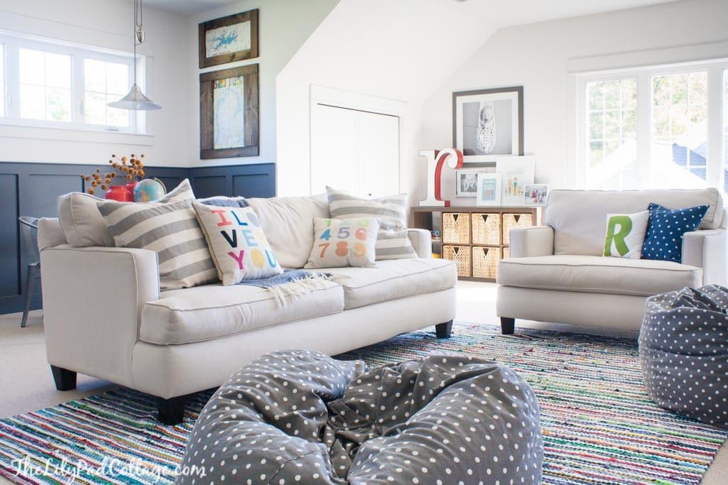 Playroom sofa playroom ideas ideal home thesofa for Playroom living room ideas
