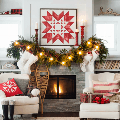 Cozy Quilt Christmas Mantel Decor
