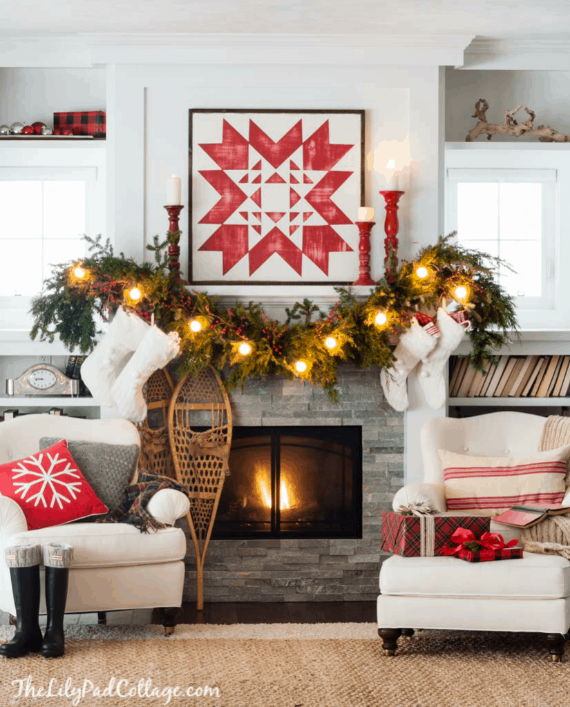 Cozy Christmas Ski Lodge Mantel Decor