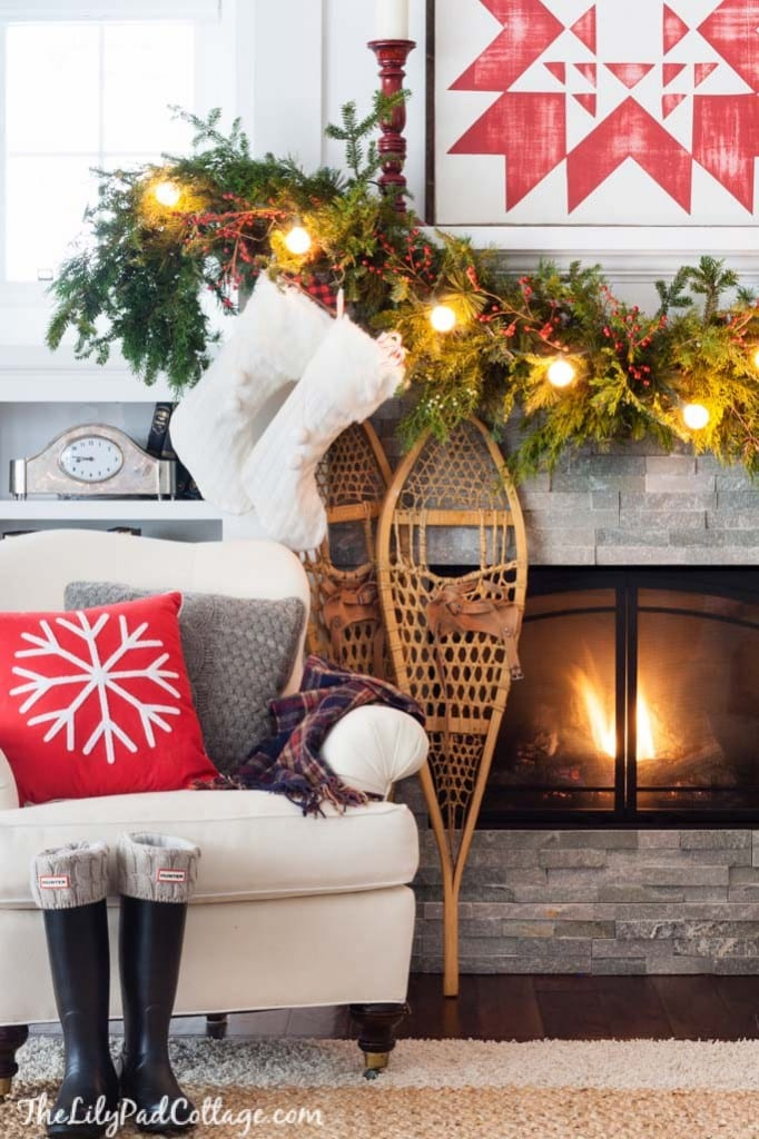 Snowshoe Christmas Mantel Decor