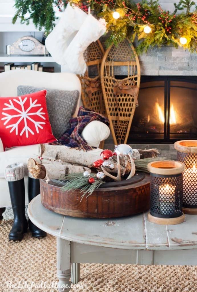 Birch Log Christmas Centerpiece