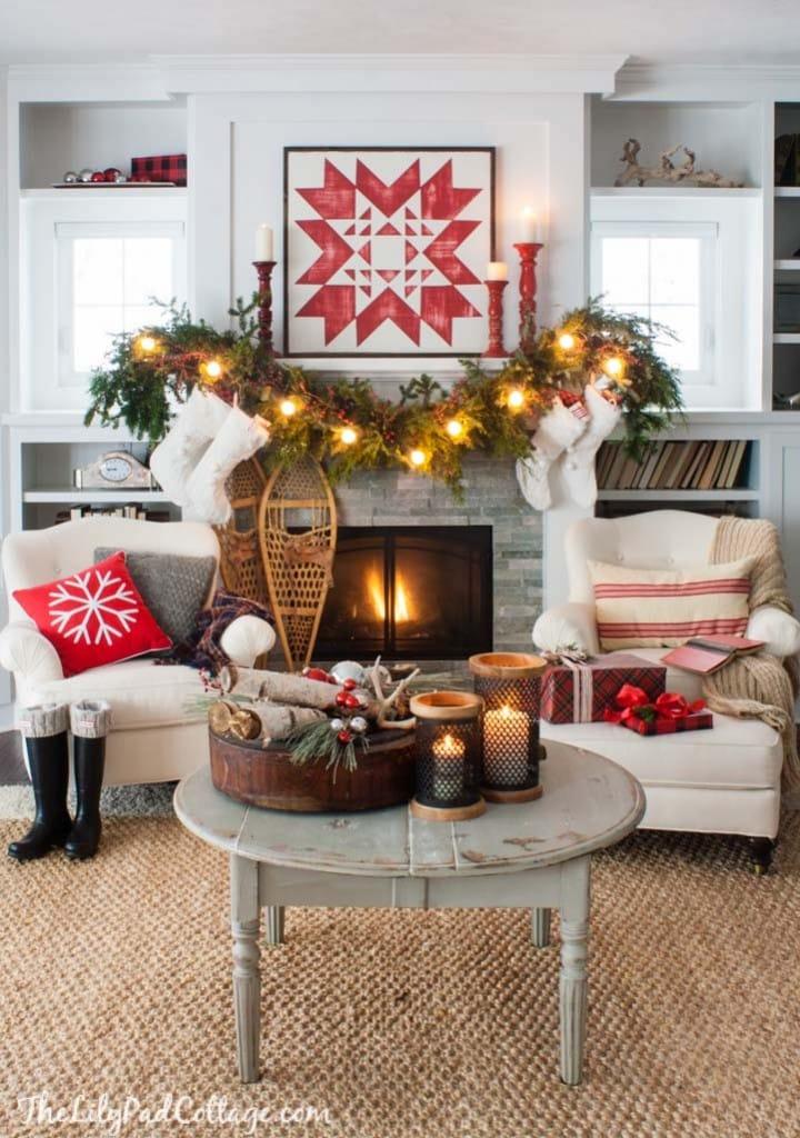 Quilt Christmas Mantel Decor