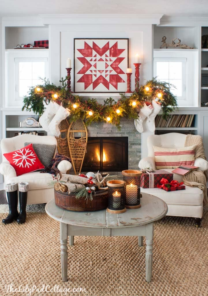 Cozy Quilt Christmas Mantel Decor - The Lilypad Cottage