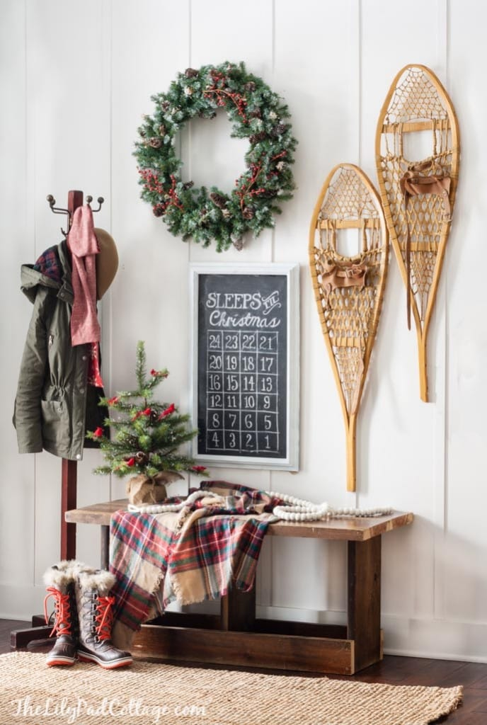 Christmas Entry with Vintage Snow shoes