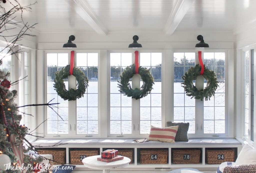 Wreaths on interior windows