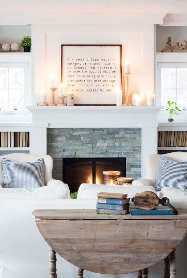 White Winter Mantel Decor