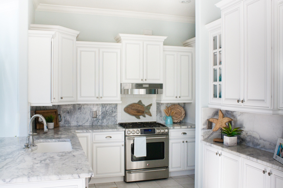 Coastal Marble And White Kitchen Design