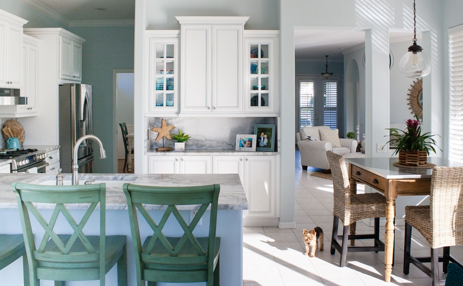 Coastal Kitchen and Family Room - The Lilypad Cottage