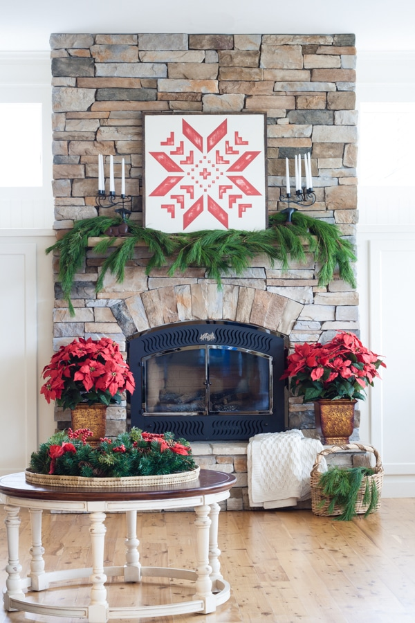 Classic Red and White Cottage Christmas Mantel