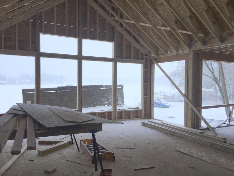 Lake House living room framing